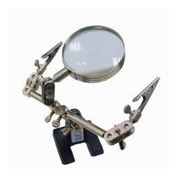 Veto third hand tool with magnifying glass