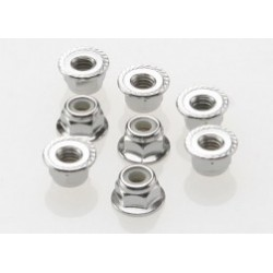 Traxxas Nuts, 4mm flanged nylon locking (steel, serrated) (8)
