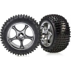 "Traxxas Alias Tires with Tracer 2.2"" Chrome Wheels (assembled, glued) (rear)"