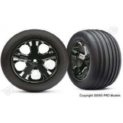 Traxxas Alias Ribbed tires, All Star black chrome wheels, foam inserts (assembled and glued) (front)
