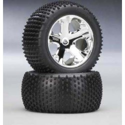 Traxxas Alias tires, All Star chrome wheels, foam inserts (assembled and glued) (rear) (2)