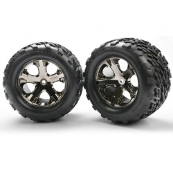 Traxxas Talon tires, All-Star chrome wheels, foam inserts (assembled and glued) (electric rear) (2)