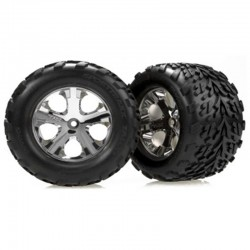 Traxxas Talon tires, All-Star chrome wheels, foam inserts (assembled and glued) (nitro rear/ electric front) (2)